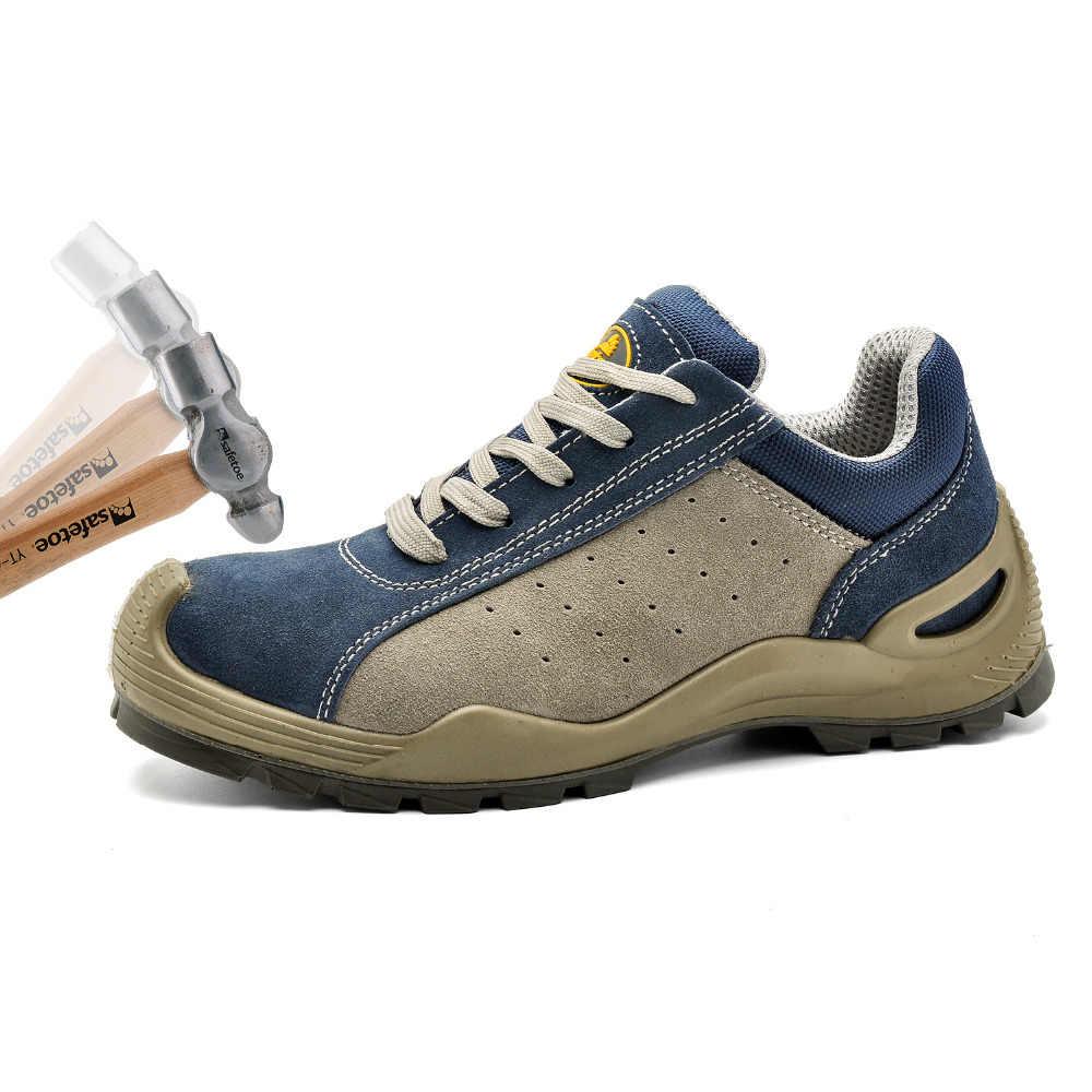 Safetoe Güvenlik Ayakkabıları Erkek iş çizmeleri erkek ayakkabısı Deri Çelik Burunlu Ayakkabı Danteller Hava Mesh Güvenlik Ayakkabı Inek Deri Nefes Iş