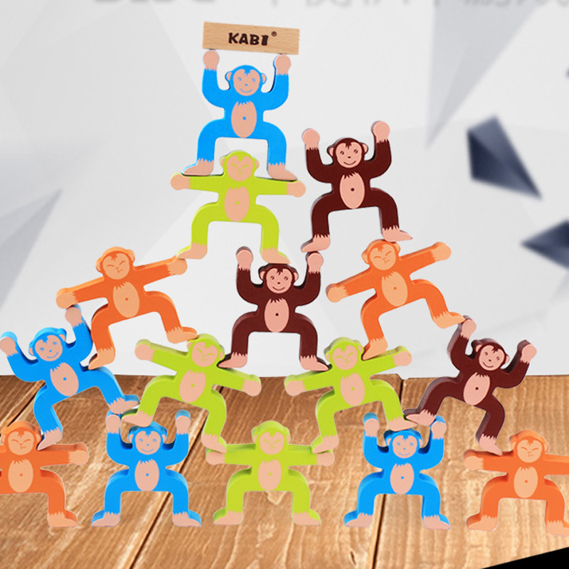 Baby Toys Educational Monkey Balancing Blocks Wooden Toys Beech Wood Balance Game Multicolor Blocks Gift For Child Toy 16 Pieces