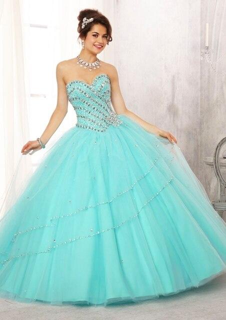 13b5b1c5c Vestidos de quinceañeras 2016 vestido para 15 años dulce turquesa Tulle del  vestido de bola cristal
