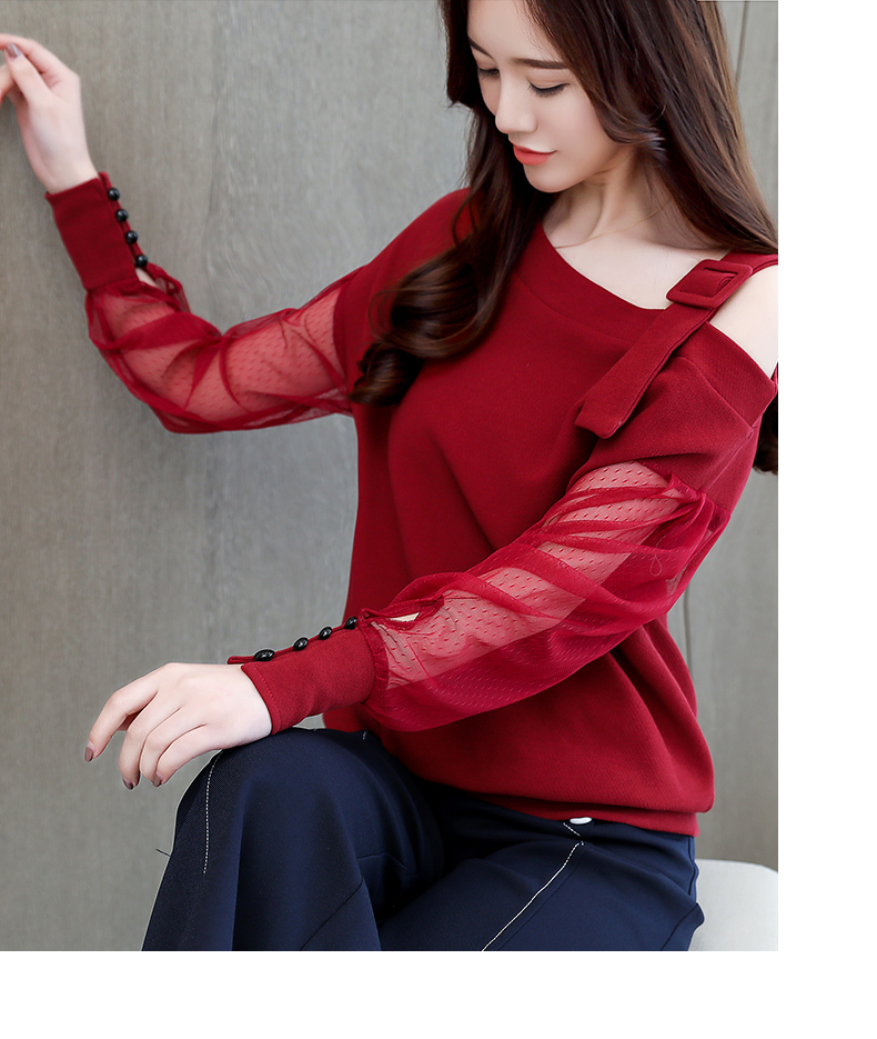 2019 Spring New Long Sleeve Shirt Women Fashion Woman Blouses Sexy Off Shoulder Top Solid Women Blouse Shirt Clothing Female (3)