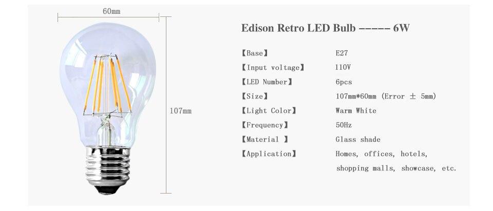 Dimmable Antique Retro Edison Incandescent LED lamp 110V E27 2W 4W 6W (6)