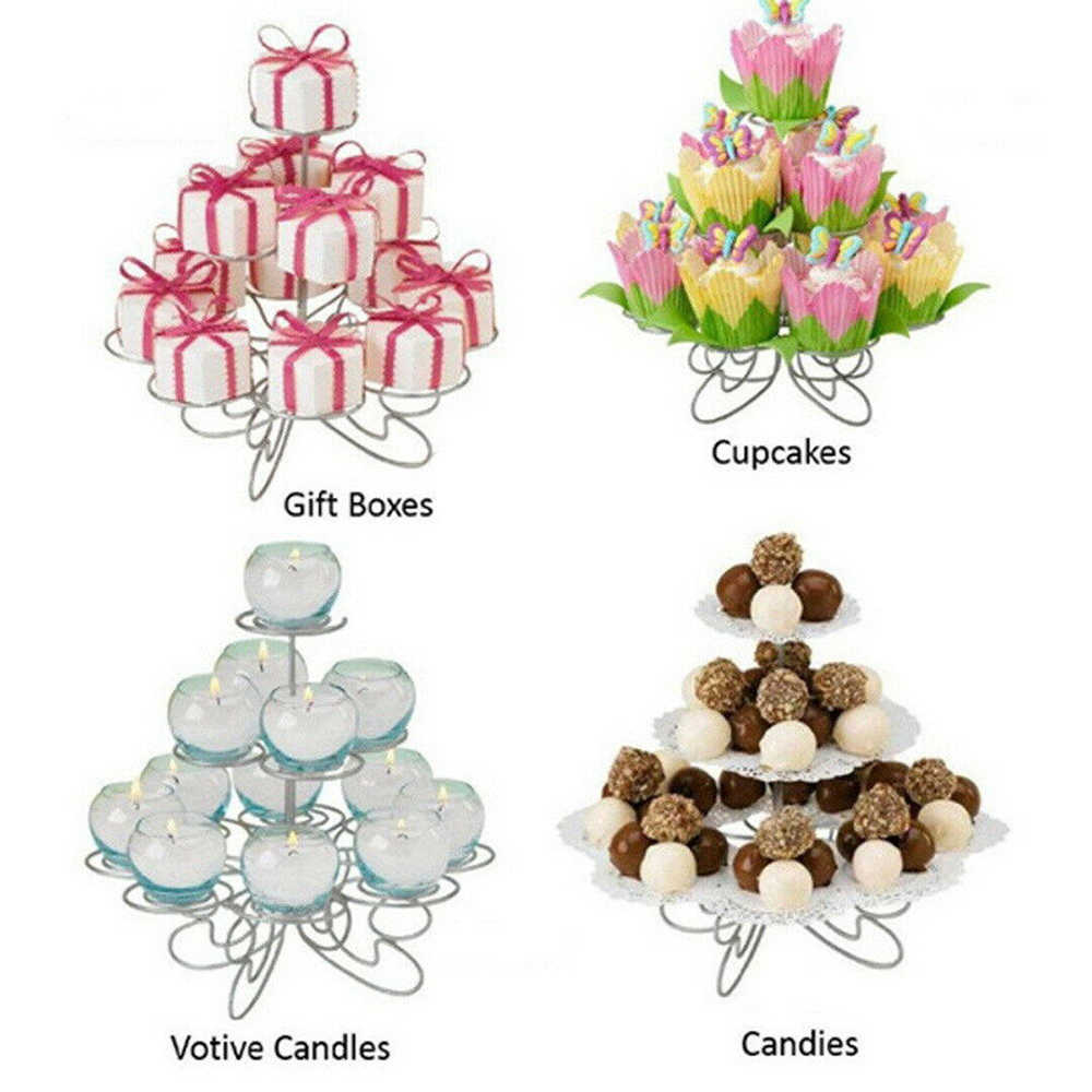 New 3 Tier Metal Cake Stand Holder Cupcake Holder Cup Tray Wedding Birthday Party Decorations