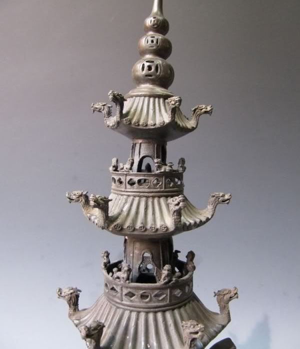 17 Tibet Buddhism Pure Bronze Copper Dragon Stupa Pagoda Incense Burner Censer 8.02