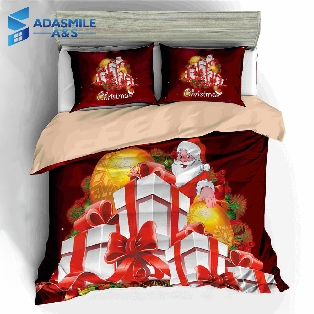 Cartoon Santa Clause Gifts Red Bedclothes Children Duvet Cover Set Pillowcases Bed Cover Kids Christmas Bedding Set US Twin