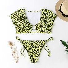 Bikini 2019 Leopard Print Swimwear Women Bathers Yellow Brazilian Swimsuit Female T-shirt V-neck Thong Sexy Swimming