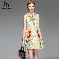 LD LINDA DELLA New Design Runway Summer Dress Women S Sleeveless Elegant Straight Sequin Beading Bow