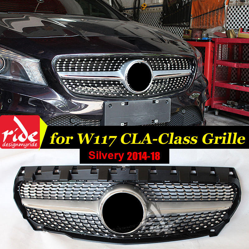W117 Diamond Front Grille For Mercedes Benz CLA Class W117 Cla180 Cla200 Cla250 Cla300 Cla45AMG 2014+ Silver ABS Material GrilleW117 Diamond Front Grille For Mercedes Benz CLA Class W117 Cla180 Cla200 Cla250 Cla300 Cla45AMG 2014+ Silver ABS Material Grille
