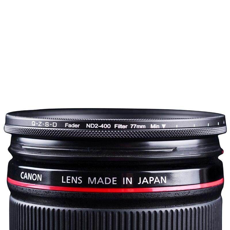 Qingzhuangshidai 77mm ND2-ND400 Vario ND Variable Neutral Density Camera Lens Filter for Canon Nikon Sony SLR Camera