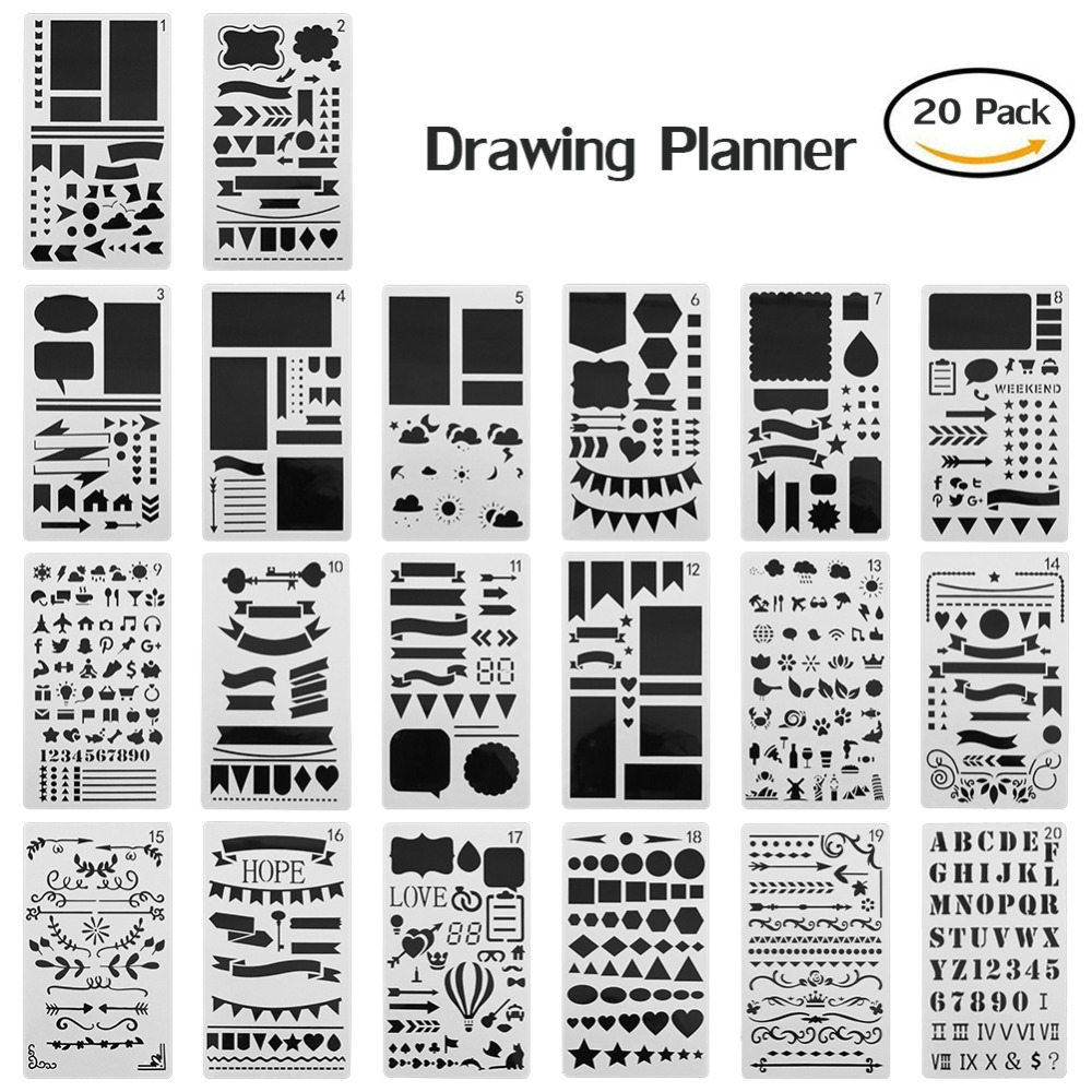 20 Pcs Journal Stencil Set Plastic Template DIY Drawing Planner For DJournaling/Scrapbooking/Notebook/Diary/Card 4 X 7 Inch