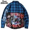 Long Hip Hop Plaid Shirts Mens Shark Print Long Sleeve Dress Jacket Shirt Blue Checkered Casual
