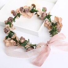 Brown Hot Sale Plant Flower Headband tiara For Wedding Wreath Crown Summer Head Wear Women Hair Accessories Bridal Hairbands