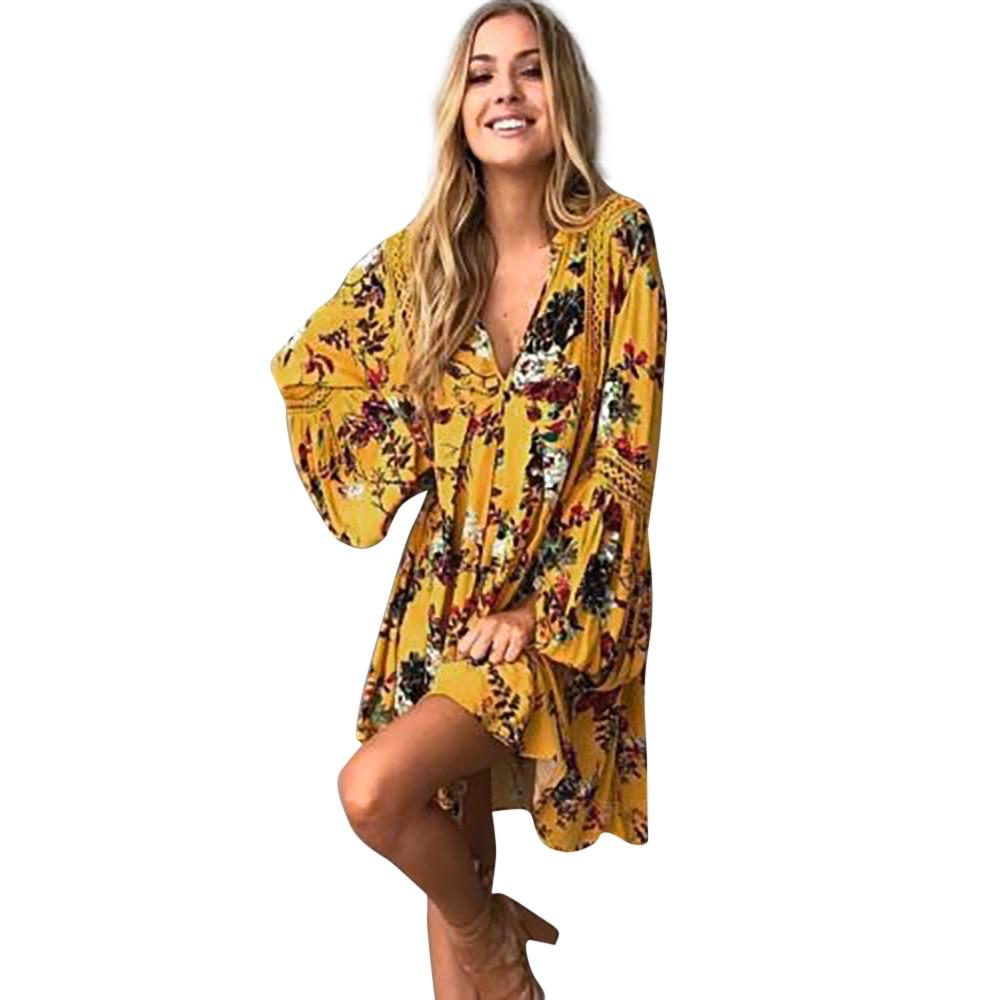 2019 Women Boho Floral Long Asymmetrical Print Batwing Sleeve Party Beach Mini Dress Sundress Ladies Summer Boho Style Vestidos