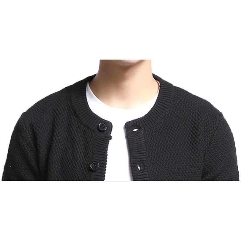 Varsanol хлопковый свитер мужской кардиган с длинными рукавами мужские свитера с круглым вырезом свободные пуговицы подходят для вязания Повседневный стиль черный цвет Топы