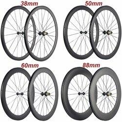 Продажа с фабрики 700C Углеродные колеса Трубчатые 38 мм 50 мм 60 мм 88 мм Углеродные колеса для велосипеда клинчер колеса для шоссейного велосипе...