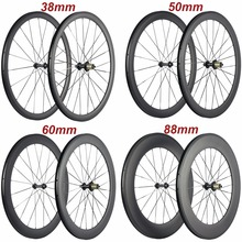 Factory Sales 700C Carbon Wheelset Tubular 38mm 50mm 60mm 88mm Carbon Bicycle Wheels Clincher Road Bike Wheels Basalt Braking full carbon road bike rims 24mm 38mm 50mm 60mm 88mm clincher tubular classic 23mm width 700c road bike carbon rims