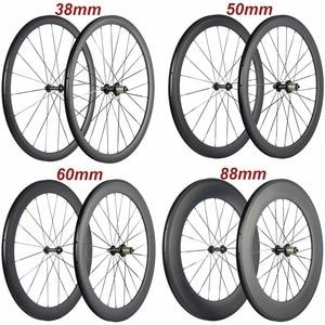 Image 1 - Factory Sales 700C Carbon Wheelset Tubular 38mm 50mm 60mm 88mm Carbon Bicycle Wheels Clincher Road Bike Wheels Basalt Braking