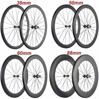 Factory Sales 700C Carbon Wheelset Tubular 38mm 50mm 60mm 88mm Carbon Bicycle Wheels Clincher Road Bike Wheels Basalt Braking