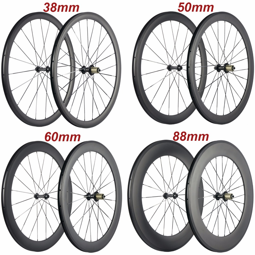 Factory Sales <font><b>700C</b></font> Carbon Wheelset Tubular 38mm 50mm 60mm 88mm Carbon <font><b>Bicycle</b></font> <font><b>Wheels</b></font> Clincher Road Bike <font><b>Wheels</b></font> Basalt Braking image