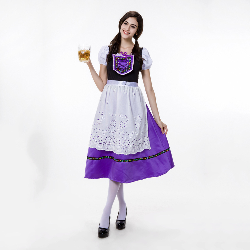 VASHE JIANG Most Popular Women's Oktoberfest Costume Fancy dress German Bavarian Maid Costume Uniform Carnival Beer Girl Costume