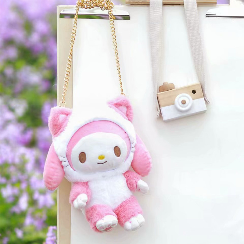 1pc My Melody Cosplay Cat My Melody Stuffed Plush Bags Toys Cinnamoroll Plush Purses For Girls Gifts(China)