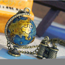 Creative Vintage Mini Globe Telescope Necklace Dangle Pendant Long Sweater Chain free shipping