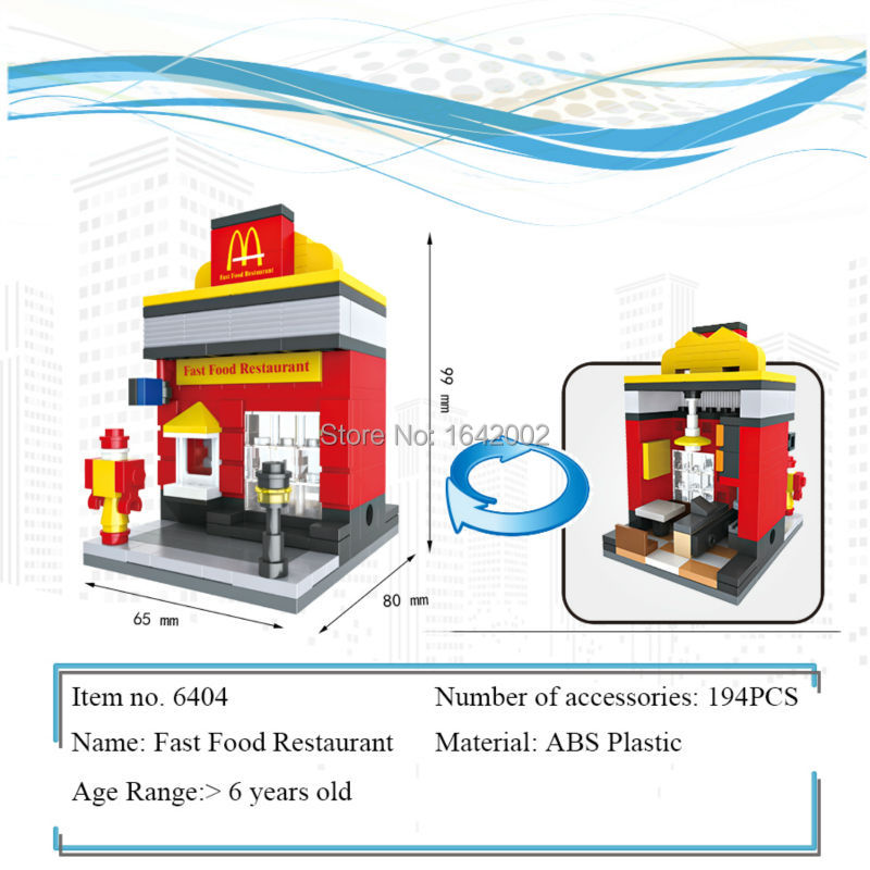 New City Series Mini Street Model Lepin McDonalds Building Blocks Toys for Kids Educational Birthday Christmas gifts