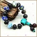 Yumten Natural Ágata Pulseiras de Cristal Turquesa Esterlina 925 Porcelana Azul E Branca Pulseira de miçangas Pedras Strand Pulseiras