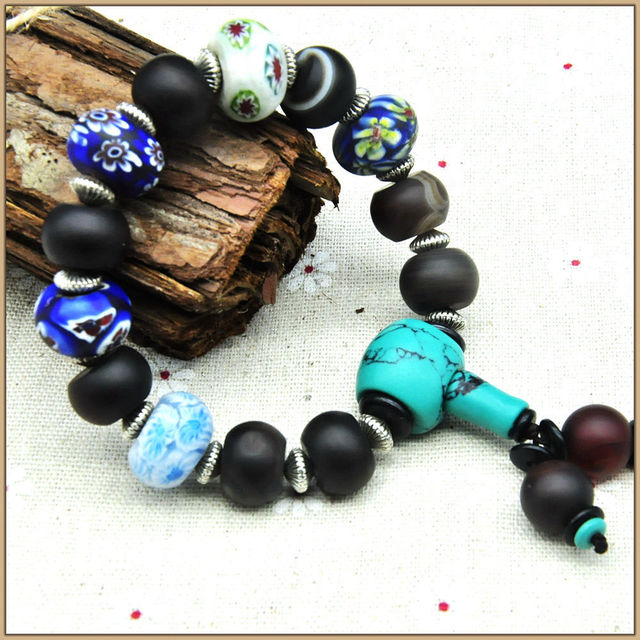 Yumten Natural Agate Bracelets Crystal Turquoise 925 Sterling Blue And White Porcelain beads Bracelet Stones Strand Bracelets