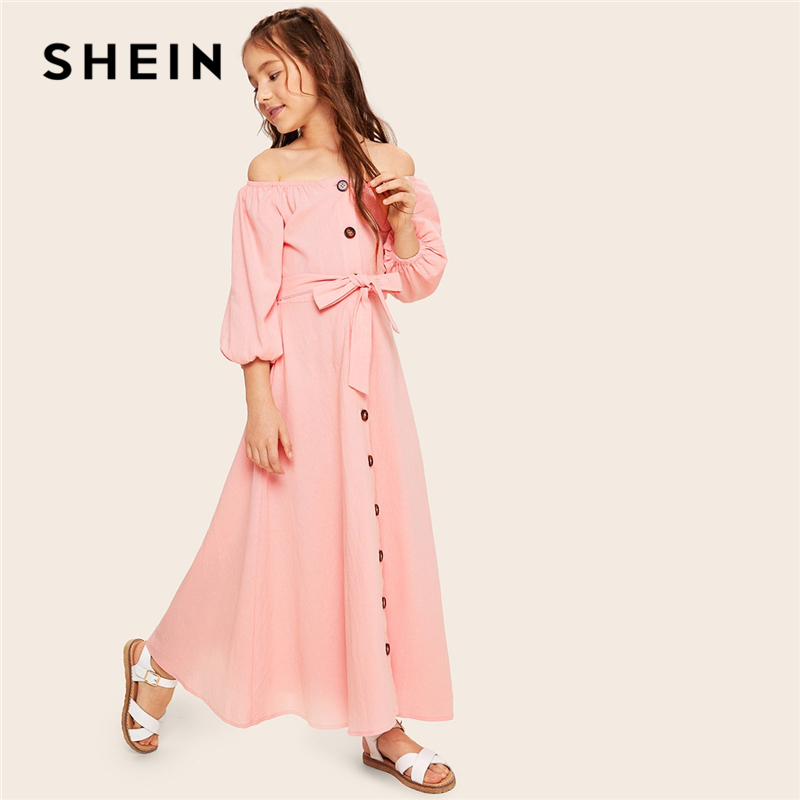 Image 4 - SHEIN Kiddie Off the Shoulder Button Front Belted Maxi Casual Girls Dress 2019 Summer Long Sleeve Fit and Flare Kids Dresses-in Dresses from Mother & Kids
