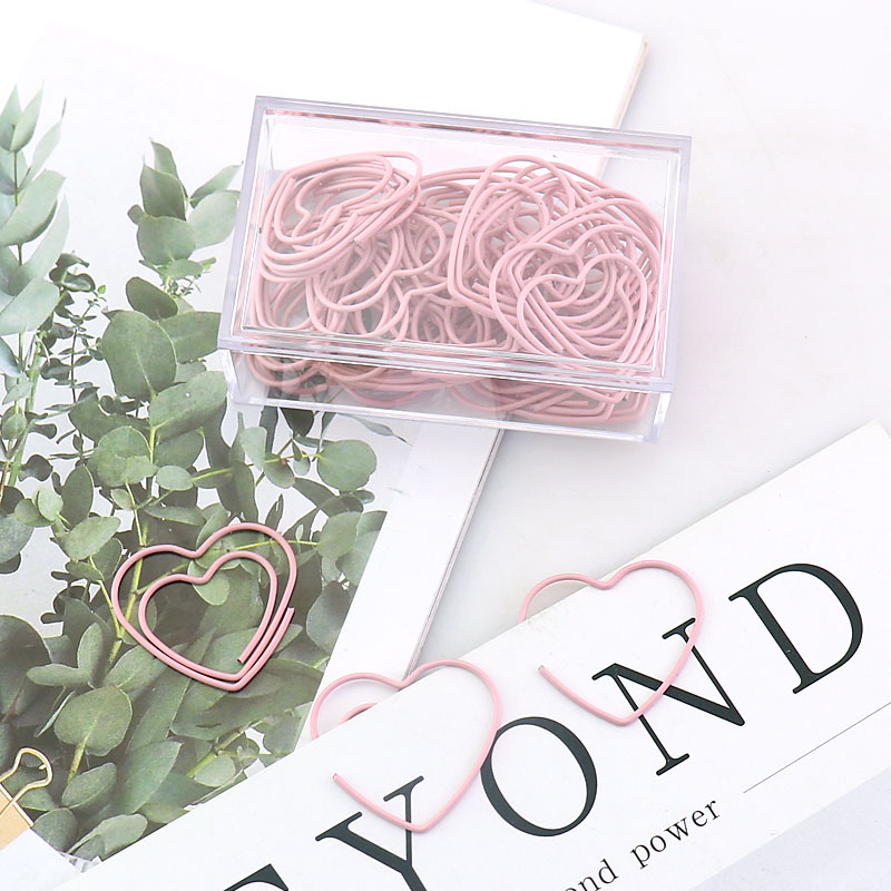 300 Pcs Cute Metal Pink Loving Heart Binder Clips Clips Small Craft Photo Pegs Office Bookmarks Kawaii Stationery 1 Color