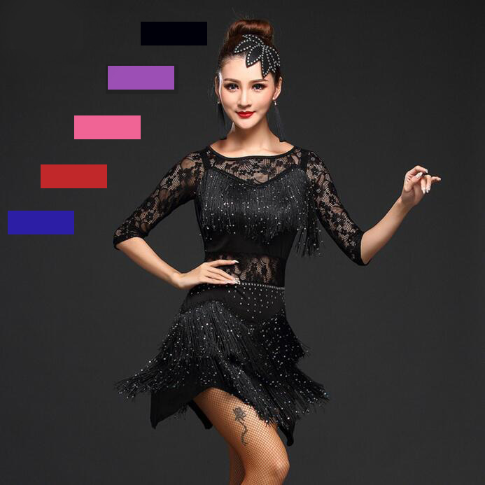 New 2018 Women Competition Dance Clothes Sequins Costume Set Fringe Salsa Dresses Ballroom Dance Ladies Latin Dress