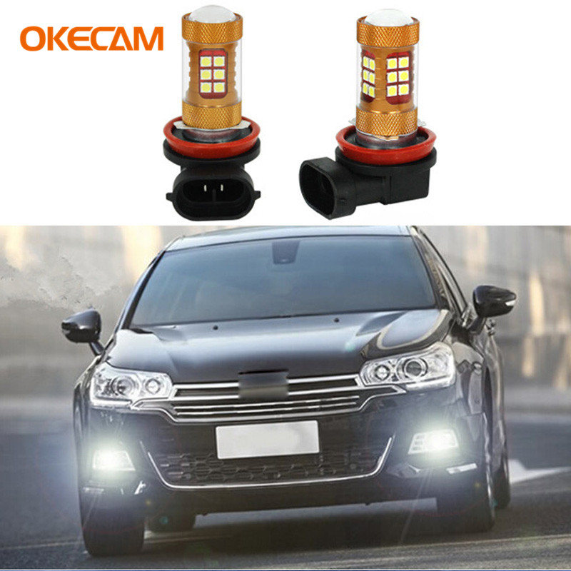OKECAM 2pcs H11 H8 56W LED Car Lights White Daytime Running Lights DRL Fog Light Driving Lamp for Citroen C4 C4l C5 Triumph C2 2x bright error free h8 h11 led projector fog light bulb for citroen c2 c4 c4l c5 triumph