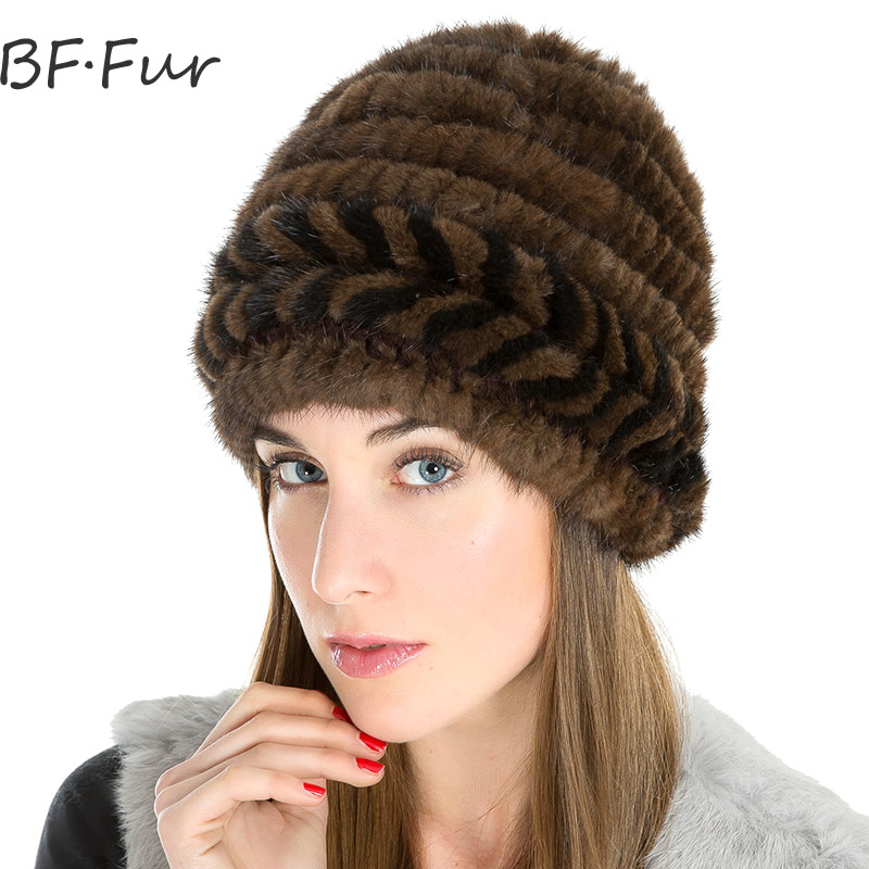 Real Mink Fur Winter Warm Hat Female Knitted Cotton Animal Fur Cap Natural Color Girls Beanies Women Casual Adult Warm Hats russian real mink fur hat for female animal fur winter warm beanies fashion solid color cap natural color bonnet girls hats