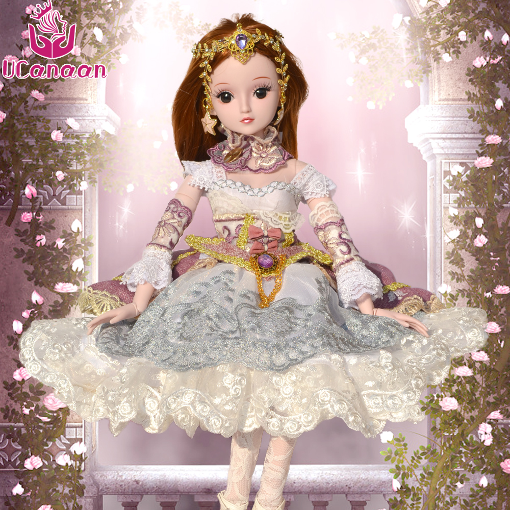 UCanaan1/3 BJD Doll 60CM With All Outfit Dress Wigs Shoes Makeup Princess Toys For Girls DIY Dressup SD Dolls For Children Gifts 5cm pu leather doll princess shoes for bjd dolls lace canvas mini toy shoes1 6 bjd snickers for russian doll accessories