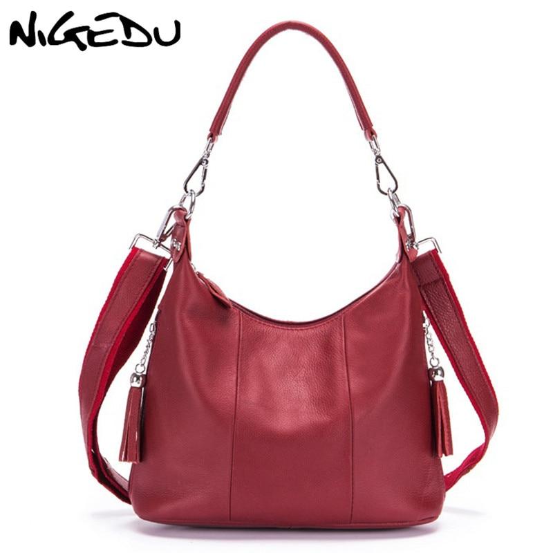NIGEDU Genuine Leather Women handbag Tassel Messenger Bags for Women s Shoulder Bag Cowhide Female Messenger
