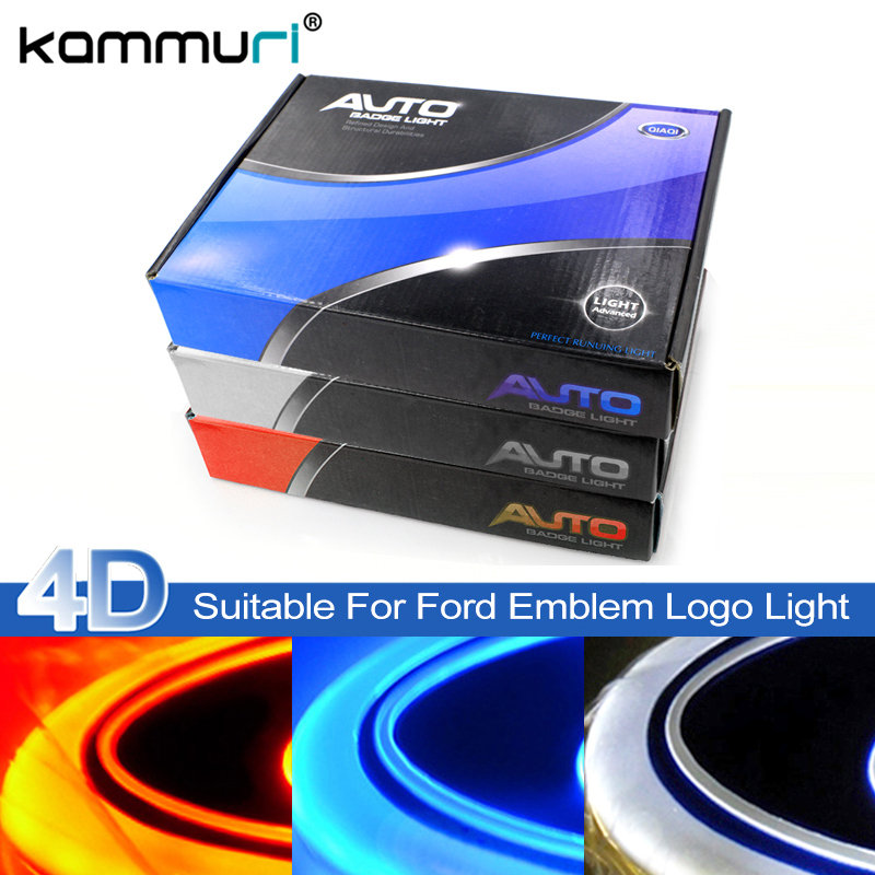 KAMMURI 4D led car emblem badge light for Ford focus 2 3 Kuga Fusion Fiesta Escape Ranger Mustang Mondeo Galaxy Badge Logo Light auto logo sticker 5d car logo light led emblem light for ford front & rear badge emblem car led light front emblem stickers