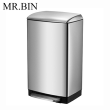 MR. BIN 12 литров педаль для мусора с PP съемным внутренним ведром 410 нержавеющая сталь немой и анти-отпечатков пальцев мусорное ведро