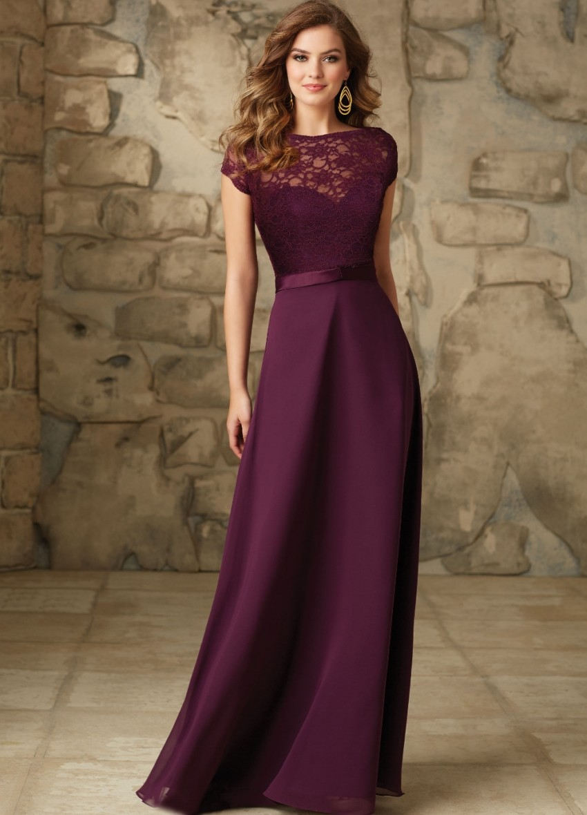Online get cheap neck lace short chiffon bridesmaid prom dress 2017 elegant sheer lace boat neck scoop cap sleeves full length prom dresses gown bridesmaid dress ombrellifo Image collections