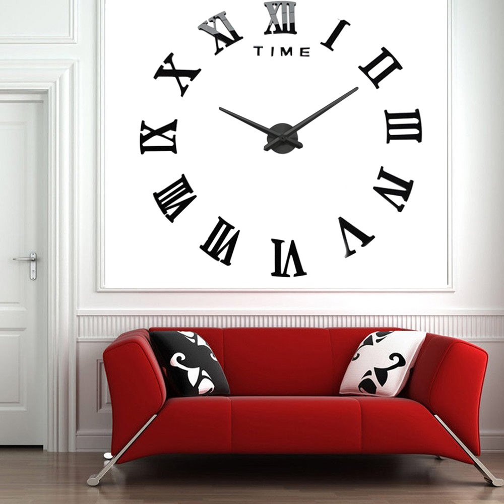 d diy wall clock watch living room metal acrylic mirror home  - d diy wall clock watch living room metal acrylic mirror home decor quartz wallclock roman numeral scales in wall clocks from home  garden on