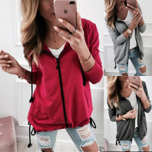 S-2XL spring autumn pure color hoodies women tops blouse casual womens pullover