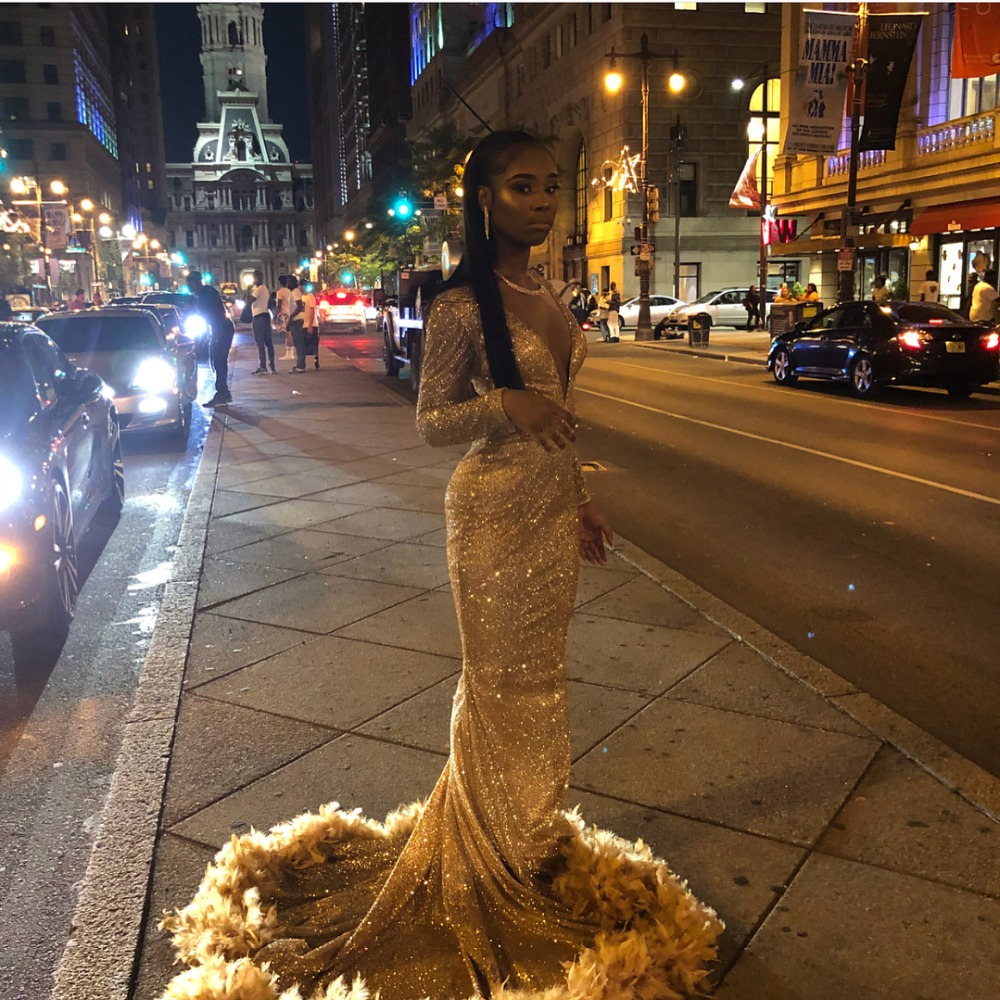 Vestidos De Gala 2019 Sexy Golden Sequined Mermaid   Prom     Dresses   Long Gorgeous Feathers Bottom   Prom   Gowns with Long Sleeve