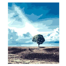 40x50cm Diy Oil Paint By Numbers Kit Scenery,Lonely Tree,Painting