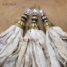 Слоновая кость сари подвеска с шёлковой кисточкой Античная бронзовая кепка и Большой Хрустальный шар PM8971