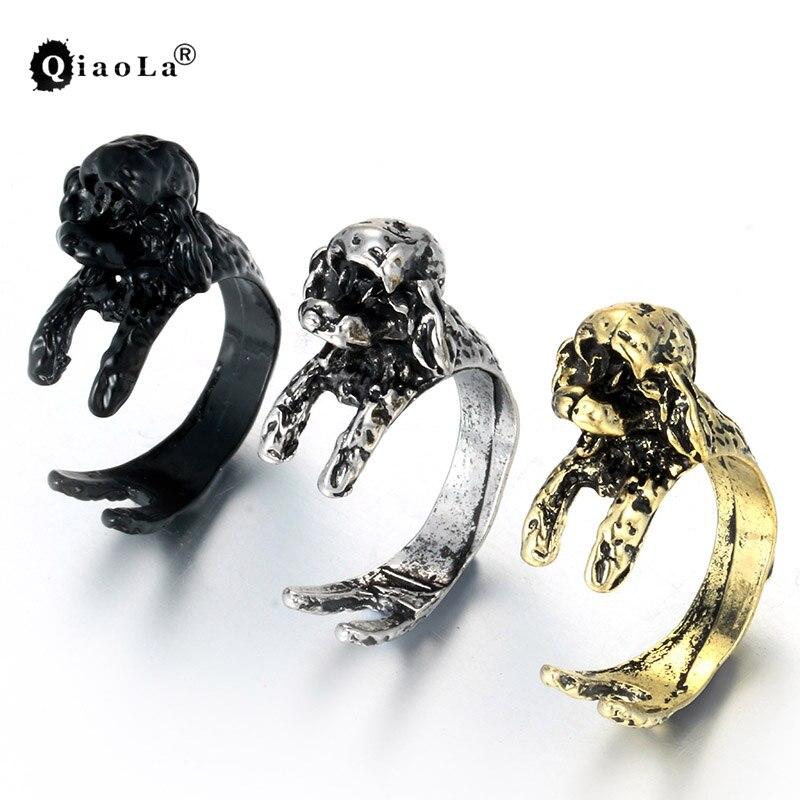 Aimeilai Vintage French Pekingese Dog Ring Dachshund Dog Jewerly Gun Black Antique Silver Bronze Sausage Dog Rings For Lovers