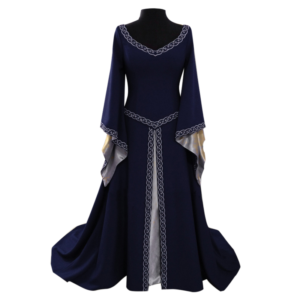 Halloween Medieval Renaissance Women Dress Halloween Cosplay Costume Bell sleeve Party Dress