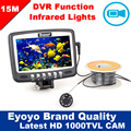 Eyoyo Original 15M 1000TVL Underwater Ice Fishing Camera  Fish Finder w/ Video Recording DVR 4.3'' Color LCD Monitor 8pcs IR LED