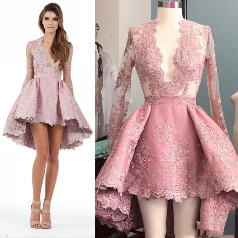 High Low   Cocktail     Dresses   2019 Short Prom   Dresses   With Sexy Plunging Neckline Lace Appliqued Illusion Long Sleeves Custom Made