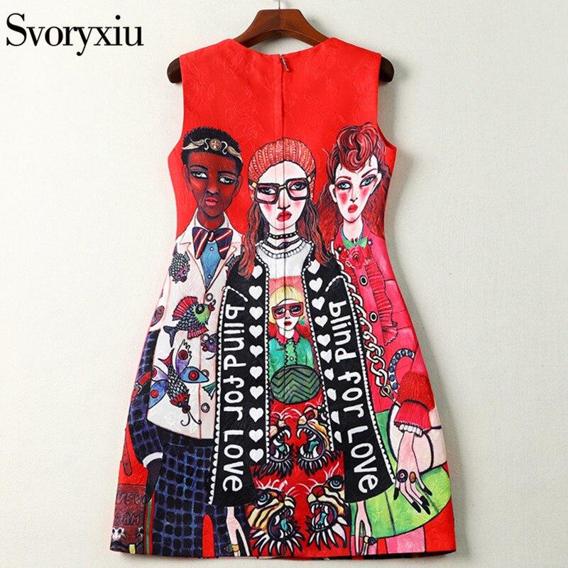 Image 2 - Svoryxiu 2019 designer de moda verão sem mangas vestido curto das  mulheres dos desenhos animados personagem carta impressão jacquard  vermelho mini vestidoVestidos