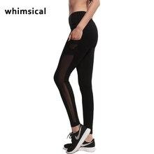 Whimsica 2017 New Women High Waist Yoga Pants Mesh Patchwork Leggings Slim Running Leggings Lady Fitness Workout Pants Sports