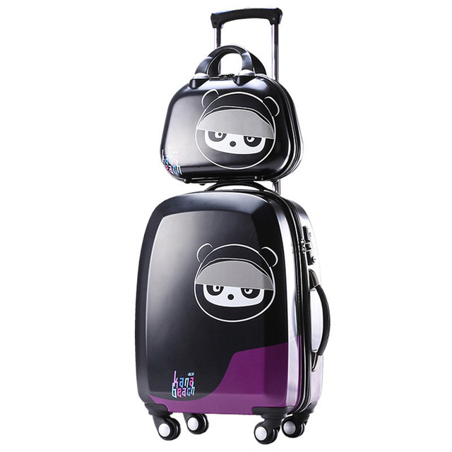 Lovely suitcase set koffers trolleys travel print luggage spinner designer with 12 makeup case
